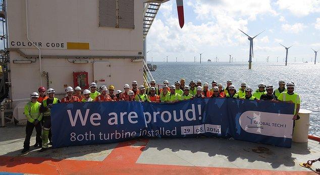 We are proud! 80th turbine installed / Pressebild: Global Tech I Offshore Wind GmbH