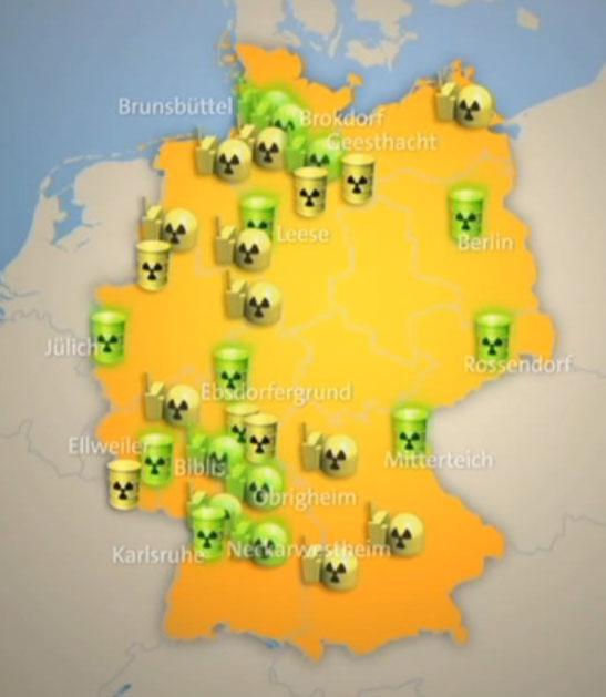 Standorte von Atommüllfässern / Youtube: ARD Mittagsmagazin