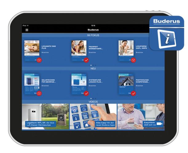 Die neue Buderus App EasyInform für Tablet und Smartphone bietet umfassende Informationen über Produkte, Aktionen und Dienstleistungen und ermöglicht einen Zugriff auf technische Unterlagen.