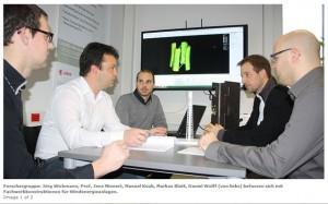 Forschergruppe: Jörg Wichmann, Prof. Jens Minnert, Manuel Koob, Markus Blatt, Daniel Wolff (von links) befassen sich mit Fachwerkkonstruktionen für Windenergieanlagen.