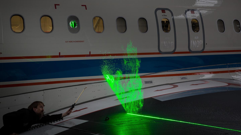Aerodynamische Lasermessungen mit Passagierjet / Pressebild: DLR