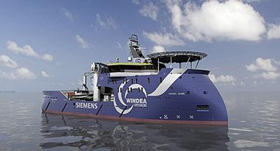 Das neue, speziell für diesen Einsatz entwickelte Wind-Service-Schiff von Siemens bietet signifikante Verbesserungen in den Bereichen Logistik, Effizienz und Einsatzmöglichkeiten. / Pressebild: Siemens