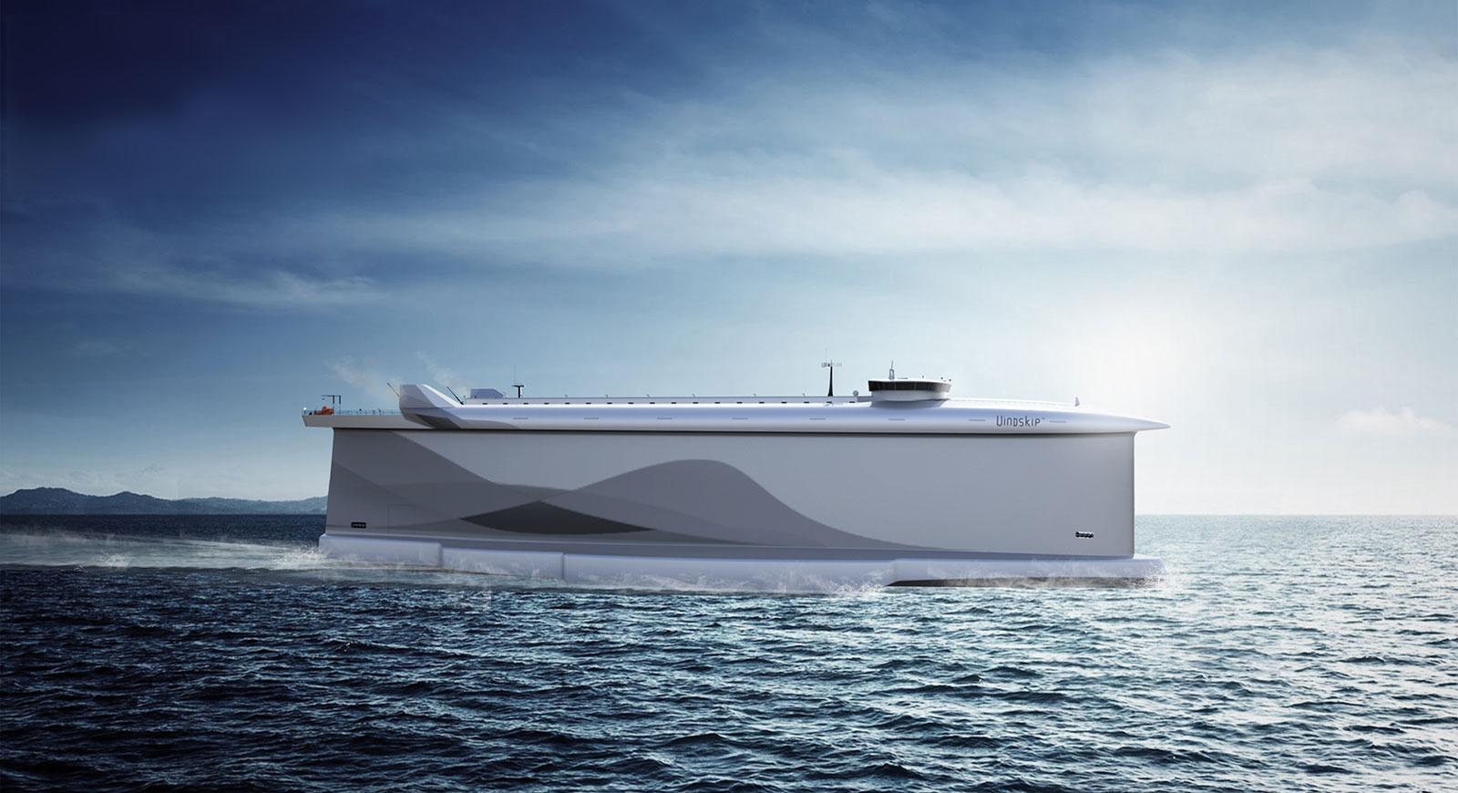 Der Rumpf des Cargo-Schiffs VindskipTM wirkt wie ein großes Segel. © LADE AS