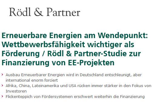 Rödl & Partner-Studie zur Finanzierung von EE-Projekten