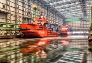 ei Nordic Yards in Wismar fand die feierliche Taufe von zwei baugleichen eisbrechenden Rettungs- und Bergungsschiffen statt. / Pressebild: