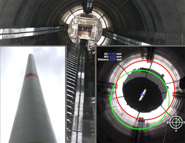 Mit dem TurmLot bietet Status Pro ein hochpräzises Instrument zur automatischen Lotung für Türme, anwendbar während der Errichtung oder nach Fertigstellung − bei statischen Lotungen oder dynamisch unter Last.