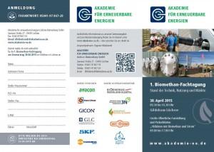 Flyer: Am 30. April 2015 veranstaltet die Akademie für erneuerbare Energien Lüchow-Dannenberg die 1. Biomethan-Fachtagung im Gildehaus in Lüchow