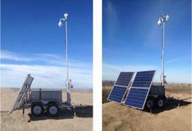 Kundenspezifisch ausgestatteter EFOY ProTrailer 4120T inkl. optionalem Zubehör für Ölanwendungen, North Alberta, Kanada. Aufgabe: Sicherheitsüberwachung der Anlage