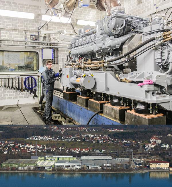 Bild oben: Vier Prüfstände für spezielle Großmotoren mit höherem Partikelausstoß rüstet MTU Friedrichshafen künftig mit Partikelfilteranlagen aus. Mit einer Pilotanlage, die anfangs des Jahres 2017 in Betrieb gehen soll, werden Erfahrungen gesammelt, da derartige Anlagen in der Art und Weise, wie MTU sie benötigt, bisher nicht existieren. Bild unten: Für zwölf Prüfstände im Werk 2 in Manzell investiert MTU Friedrichshafen mehrere Millionen Euro in eine Abgassammelanlage mit einem neuen Kamin (grau eingezeichnet). Dazu gehören auch spezielle Partikelfilteranlagen für vier Prüfstände, auf denen spezielle Motoren mit höherem Partikelausstoß getestet werden.