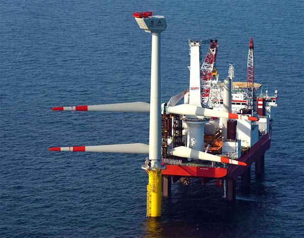 Aufbau des Trianel Offshore-Windparks / Pressebild: Trianel