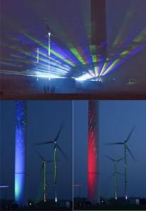 Bildmaterial: Impressionen der Licht- und Lasershow im Windpark Barkow; Quelle: UKA-Umweltgerechte Kraftanlagen/Jan Oelker