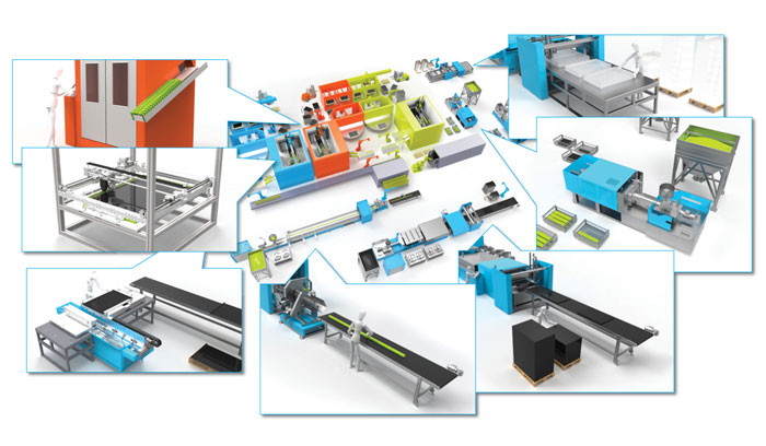 Die Turn-key-Fabriken für den Eine-Welt-Solar-Kollektor umfassen die Kunststoffproduktion der Bauteile sowie die Assemblingstationen für den gesamten Kollektor. Bild: Sunlumo Technology GmbH