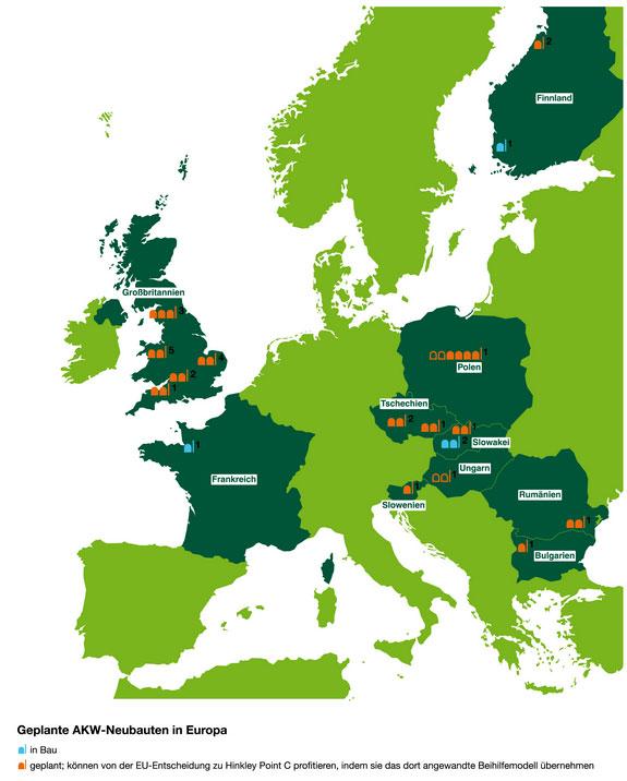 AKW-Neubauten in der EU / Presssebild: Greenpeace Energy