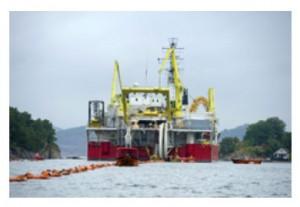 Im Rahmen des NSN-Verbindungsprojekts werden der nordische und der britische Energiemarkt über die weltweit längste, auf der HGÜ-Technologie von Nexans beruhende unterseeische Energietransportleitung miteinander verbunden / Pressebild