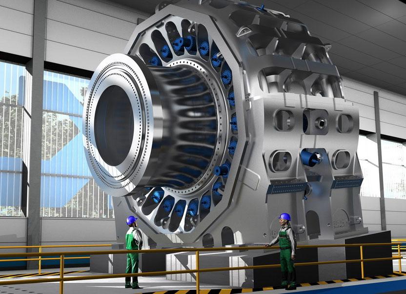 """Der gigantische Prüfstand mit Schwerpunkt """"Windenergie"""" wird der weltweit erste sein, der nicht nur ein einzelnes Hauptlager für Windturbinen, sondern quasi die komplette Original-Konstruktion inklusive entsprechender Bauteile des Kunden testen kann. / Pressebild: SKF"""