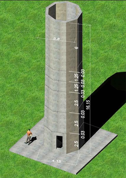 In der Vorbereitungsphase wurde ein 3D-Rendering des Betonturms erstellt (Maßangaben im m) / Copyright: TU Wien