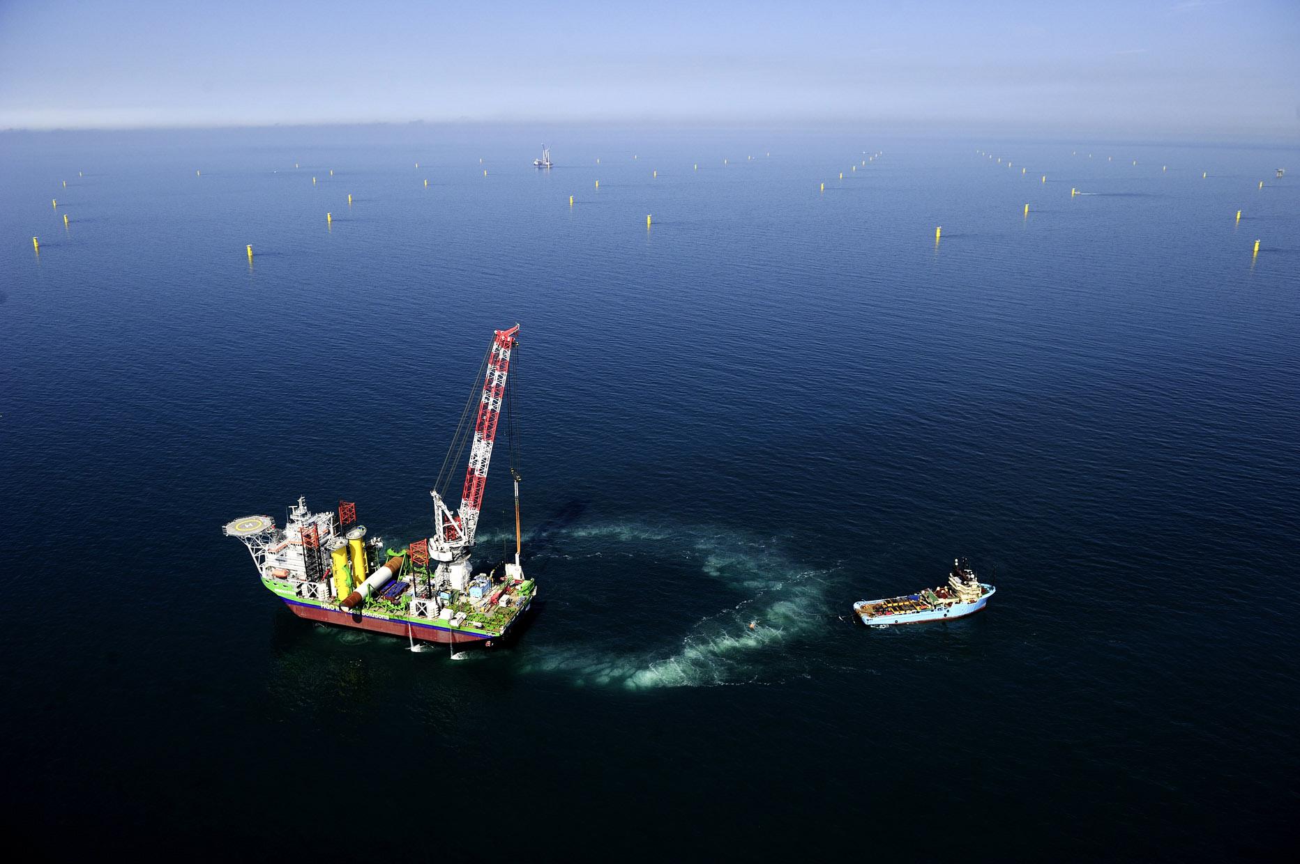 Erfolgreicher Lärmschutz beim Bau der Fundamente für Gode Wind / Pressebild: DONG Energy