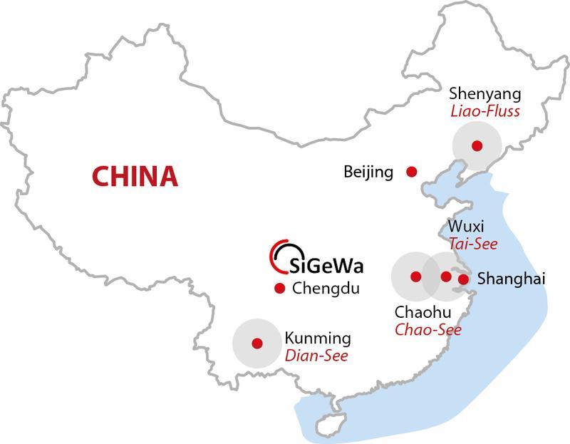 Die deutsch-chinesische Kooperation zum Mega-Wasserprogramm in China konzentriert sich derzeit auf die Seen Chao, Dian und Tai sowie das Flusseinzugsgebiet des Liaohe. / Pressebild: Quelle: FiW Aachen