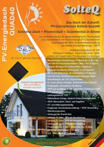PV-Energiedach QUAD40 / Die aktuelle Broschüre zum SolteQ-Energiedach