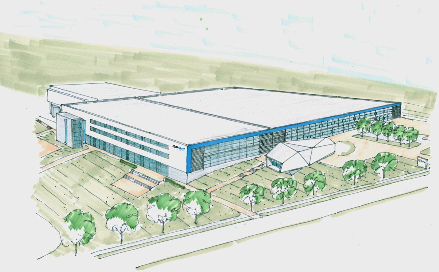 Der Erweiterungsbau mit 10.500m² schafft notwendige Kapazitäten für den Ausbau im Bereich Automobil- und Antriebstechnik / Pressebild