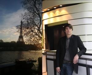 BU Eiffelturm: Bei den Verhandlungen in Paris steht der neue Weltklimavertrag kurz vor dem Abschluss.  BU Porträt: Jens Tanneberg, wissenschaftlicher Leiter im Klimahaus Bremerhaven 8° Ost. Fotonachweise: Klimahaus Bremerhaven