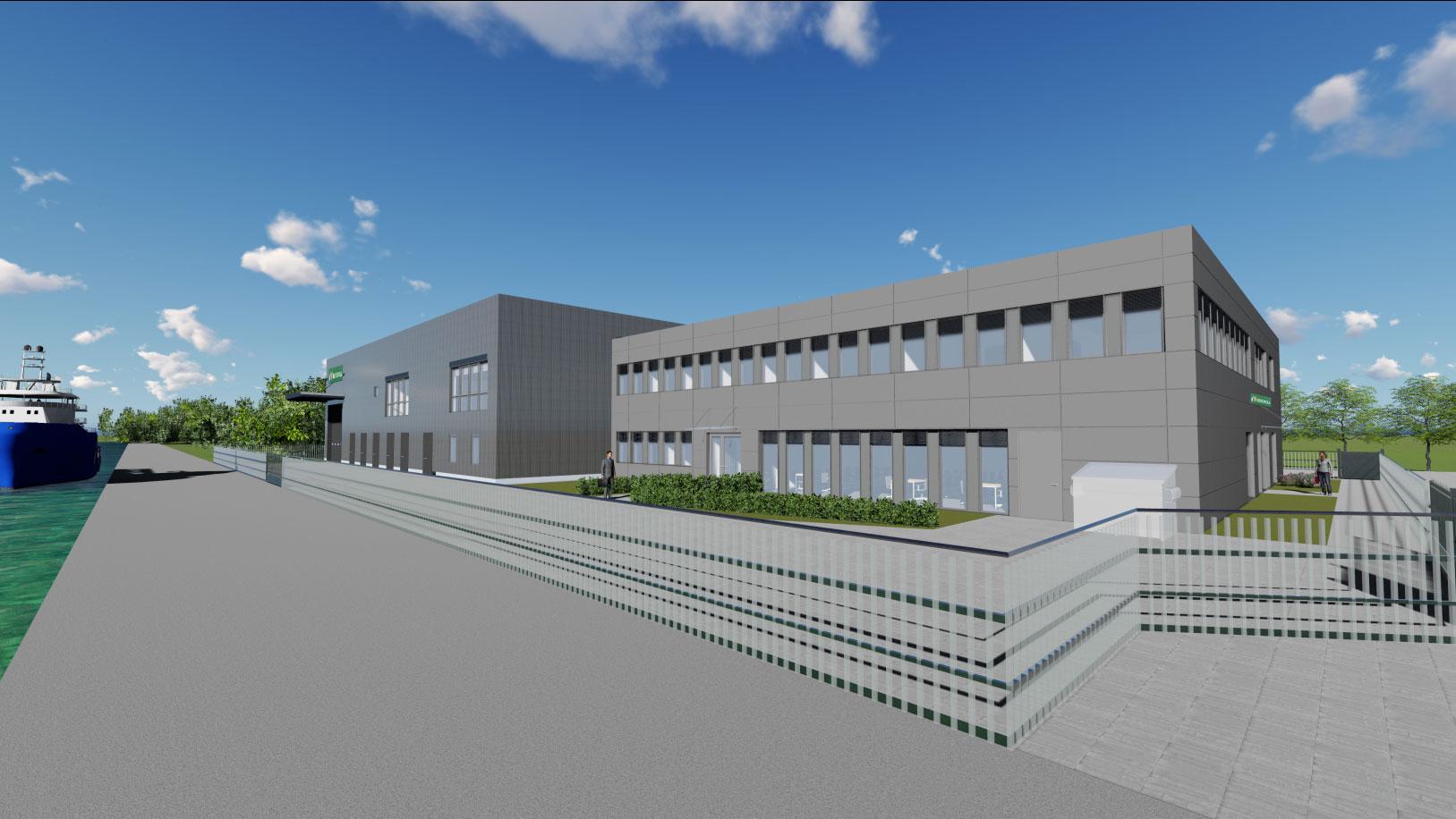 Visualisierung des künftigen Betriebsgebäudes (Details und Umgebung können abweichen) Bildquelle: GOLDBECK