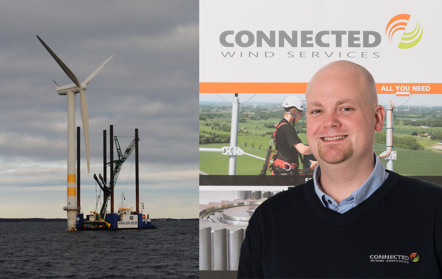 1. Project manager Mikkel Kærgaard from Connected Wind Services is pleased that the dismantling of Yttre Stengrund has proven that the Danish company both has the strength and expertise to solve very complex service projects, also when it involves offshore wind turbines. 2. Specialized wind turbine technicians from Connected Wind Services were put at work, when the Swedish wind farm Yttre Stengrund in Kalmar Sound was decommissioned as the first offshore wind farm in the world.