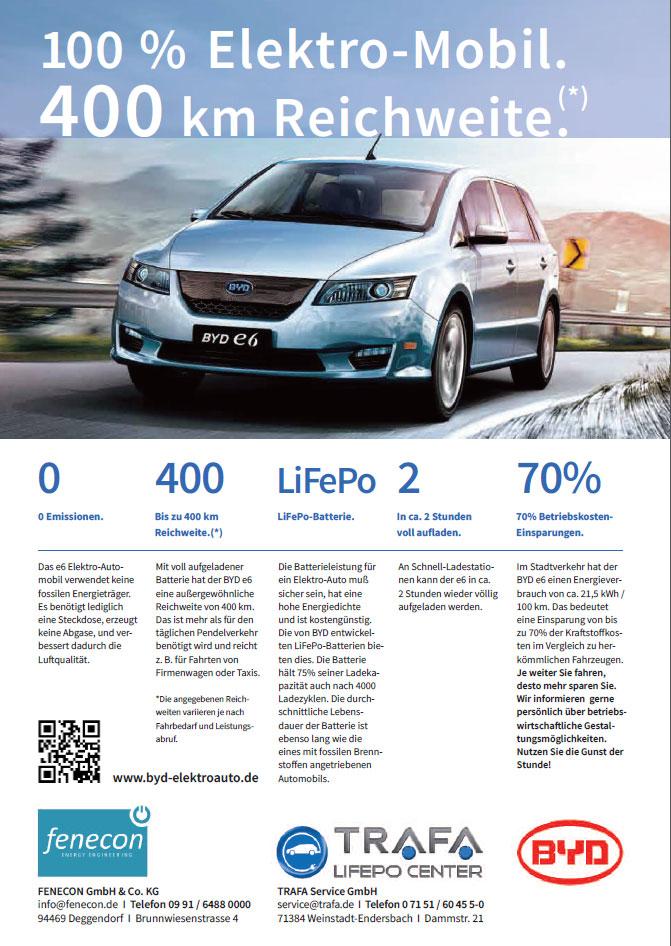 Elektroautos von BYD: FENECON startet Verkauf des e6