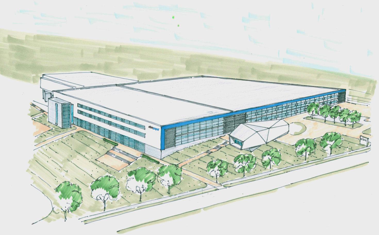Der zweite Bauabschnitt mit 10.500m² schafft notwendige Kapazitäten für den Ausbau im Bereich Automobil- und Antriebstechnik / Pressebild: ebm-papst