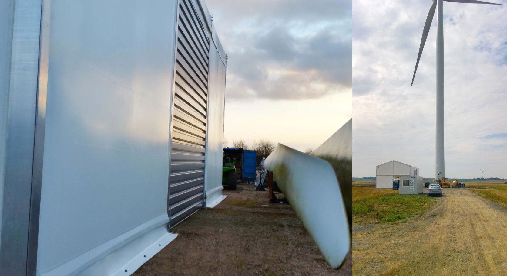 Mobile Leichtbauhalle, die Herchenbach für Siemens Service Wind Power zur Reparatur von Windkraftanlagen entwickelt hat. / Pressebilder