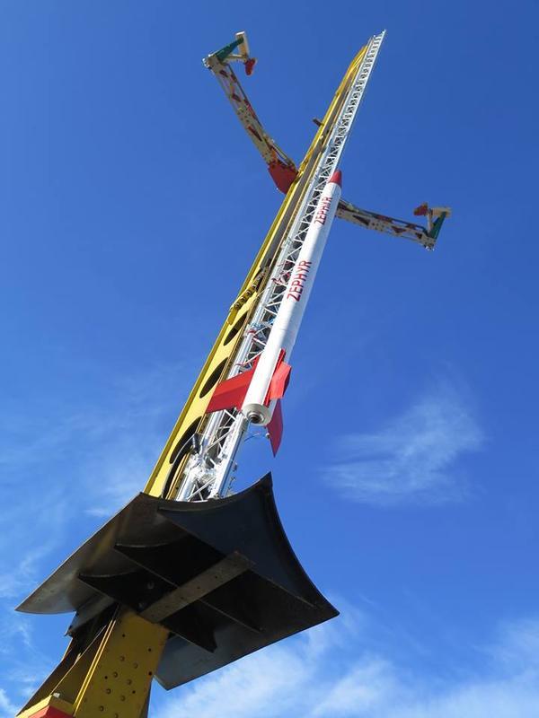 ZEpHyR-Rakete auf der Startrampe auf dem Raketenstartplatz esrange in Kiruna, Schweden / Pressebild: ZARM