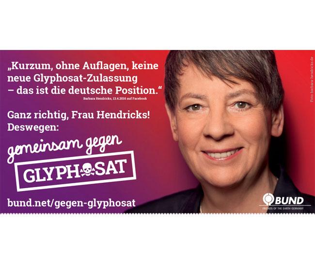 """Umweltministerin Hendricks muss – nimmt man sie beim Wort – jetzt ihr Veto gegen ein """"Ja"""" von Deutschland einlegen. Auf ihrer Facebookseite hatte sie am 13. April verkündet, dass es ohne Auflagen keine Zustimmung von der Bundesregierung geben werde! / Bild: BUND"""