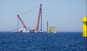 Nordsee One installiert erfolgreich Fundament für Umspannwerk auf See / Pressebild: RWE