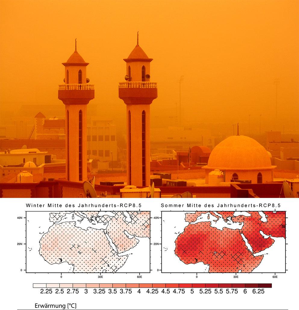 Sandstürme wie hier über Kuwait dürften im Nahen Osten und in Nordafrika mit dem Klimawandel häufiger werden. / Pressefoto: Creative Commons, Molly John Im Nahen Osten und Nordafrika werden die durchschnittlichen Temperaturen im Winter bis zur Mitte des Jahrhunderts um etwa 2,5 Grad Celsius (l.) und im Sommer um etwa fünf Grad Celsius steigen (r.). / Pressegrafik: Max-Planck-Institut für Chemie