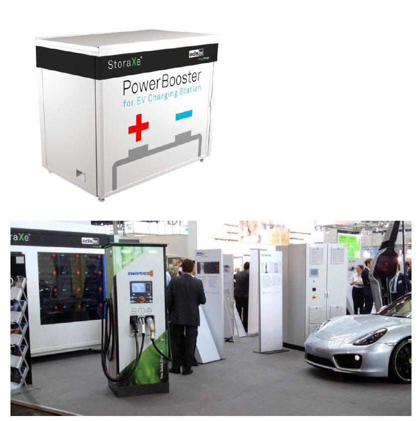 ADS-TEC Grid-Service-Station als PowerBooster, Ausstellung auf dem Gemeinschaftsstand Baden-Württemberg der Hannover Messe 2016 mit Swarco / Siemens Ladesäulen und E-Porsche Fotos: ADS-TEC