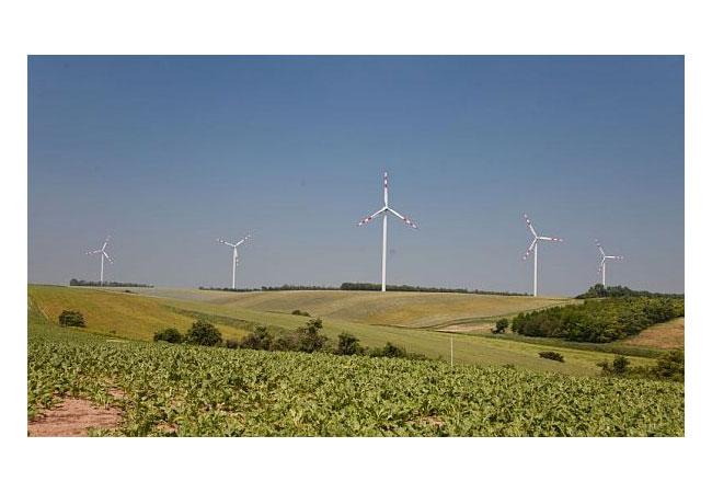 Die Windkraft Simonsfeld erweitert den Windpark Dürnkrut 2018 um vier Dreimegawatt-Anlagen. Nun wurden uns weitere vier Anlagen bewilligt. / Pressebild