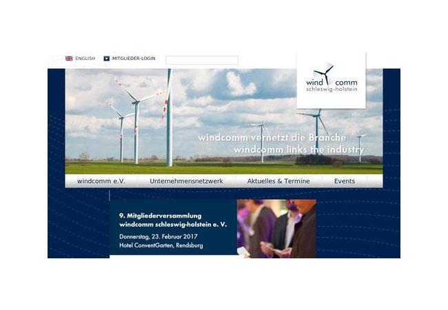 Pressebild: Der windcomm schleswig-holstein e. V. ist ein Förderverein für die regionale Windbranche mit 120 Mitgliedern aus Norddeutschland.