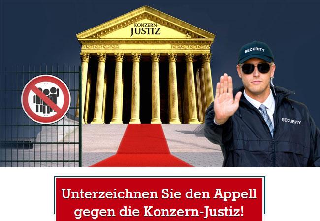 """Kein Exklusiv-Gericht für Konzerne! Die EU-Kommission will die umstrittene Paralleljustiz aus TTIP und CETA fest zementieren: mit einem """"Gerichtshof"""" exklusiv für Konzern-Klagen. Wir fordern: Die undemokratische Paralleljustiz muss endlich abgeschafft werden!"""