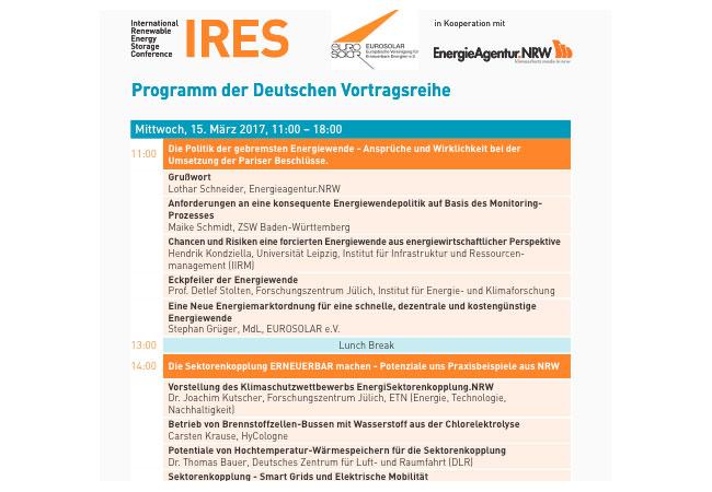 Das gesamte Konferenzprogramm sowie weitere Informationen sind unter www.energystorageconference.org abrufbar.