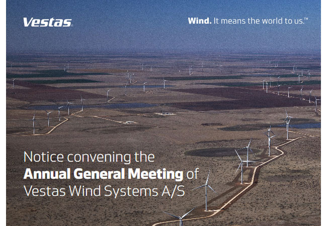Notice convening the Annual General Meeting of Vestas Wind Systems A/S