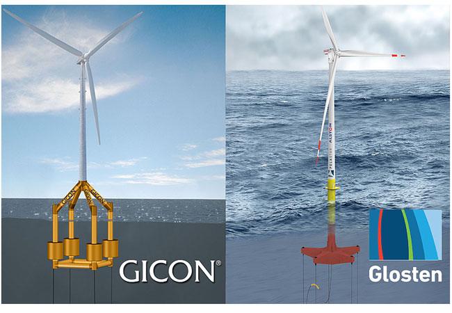 Pressebild: Die beiden Ingenieurdienstleister GICON® (Deutschland) und Glosten (USA) bündeln zukünftig ihre Expertisen für die Weiterentwicklung der TLP-Technologie Bildmontage: GICON/Glosten