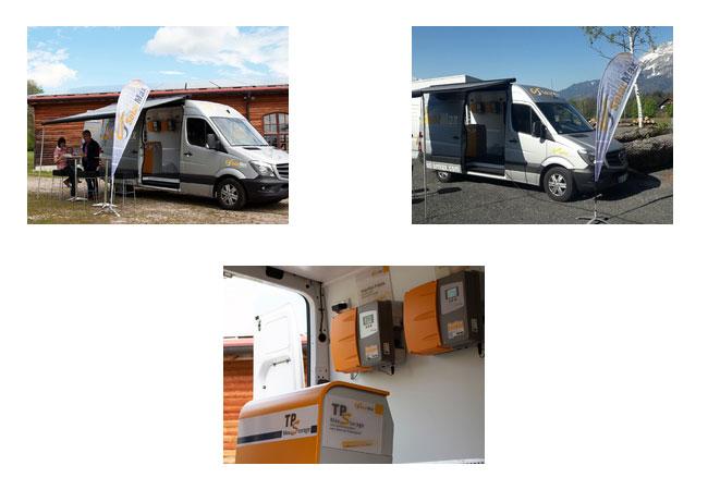 Bildunterschriften: Bild 1: SolarMax-Roadshow unterwegs Bild 2: SolarMax MaxStorage und die Wechselrichter der Serien P und TP Bild 3: SolarMax Roadshow-Bus unterwegs im Vorarlberg (Schweiz) Copyright: SolarMax-Gruppe