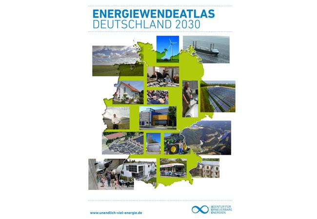 """Pressebild: Der reich bebilderte Atlas zu Deutschlands Energiewende-Potenzialen: Sonne, Wind, Biomasse und Co. - Strom, Wärme und Verkehr - Netze, Speicher und Effizienz - Die Energielandschaft in Deutschland erlebt derzeit einen grundlegenden Wandel. Wie diese im Jahr 2030 aussehen könnte und wo man bereits einen Blick in die Zukunft werfen kann, zeigt der """"Energiewendeatlas Deutschland 2030""""."""