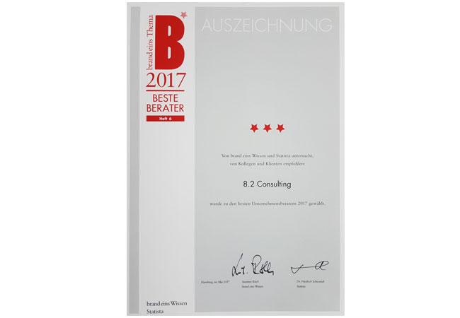 """Urkunde: 8.2 Consulting AG erneut als """"Beste Berater"""" ausgezeichnet"""