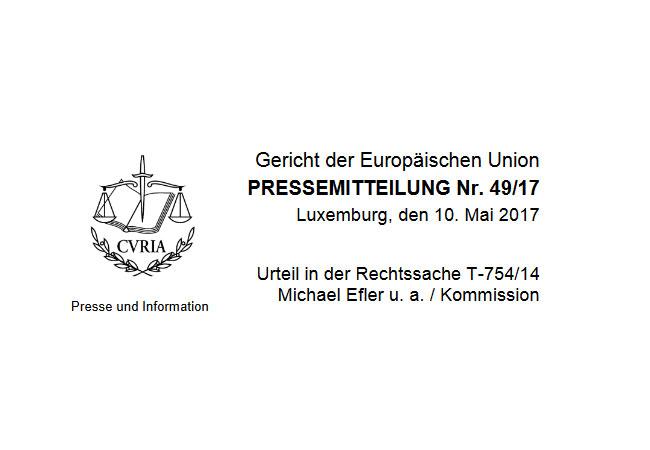 """Pressebilder: Das Gericht der Europäischen Union erklärt den Beschluss der Kommission für nichtig, mit dem die Registrierung der geplanten Europäischen Bürgerinitiative """"Stop TTIP"""" abgelehnt wurde"""