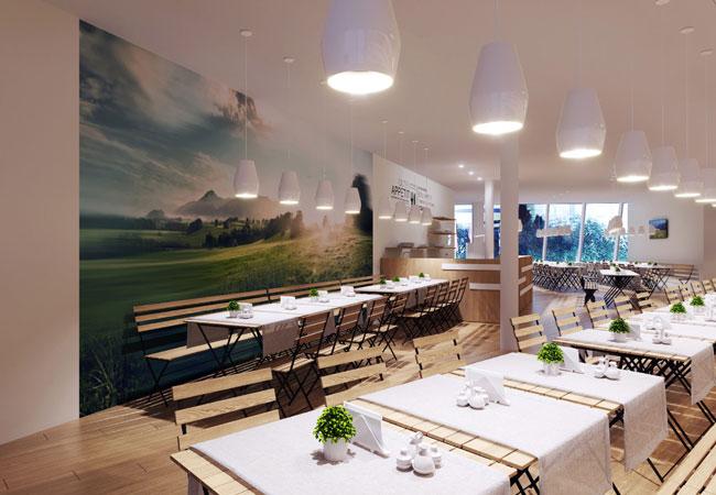 Bildunterschrift: Das Restaurant im Deutschen Pavillon auf der EXPO 2017 in Astana ist im Stil eines Gartenlokals eingerichtet. Copyright: insglück/gtp2/mac