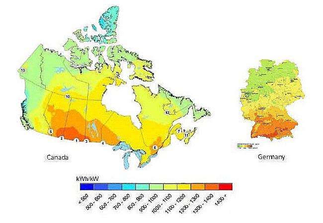 Grafik Solar Potential Germany vs Canada – Bildnachweis Natural Resources Canada / GHI Solar Map, Copyright Solargis