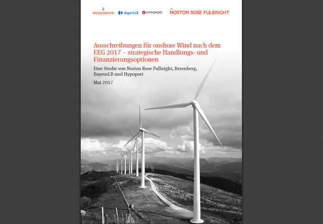 Ausschreibungen für onshore Wind nach dem EEG 2017 – strategische Handlungs- und Finanzierungsoptionen http://www.nortonrosefulbright.com/files/studie_ausschreibungen-eeg_mai-2017-149078.PDF