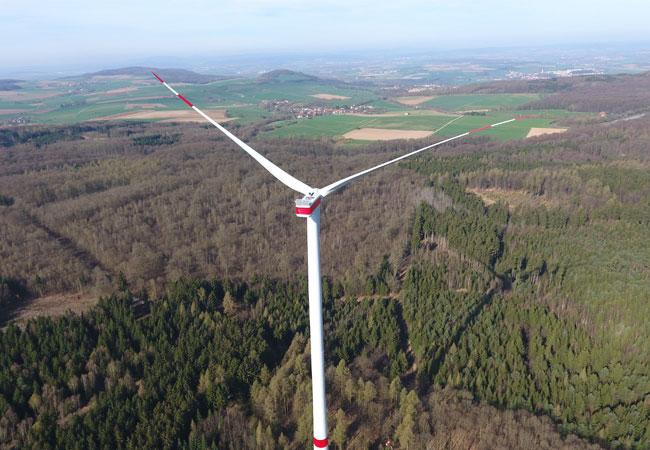 Pressebild: Windenergieanlage 1 des Windparks Felsberg / Markwald / © 2017 vortex energy holding ag