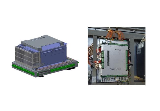 Bild links: Digitales Modell des neuen CSC4-Steuergeräts von Woodward; Bild rechts: CSC4-Windumrichter beim erfolgreichen Feldtest